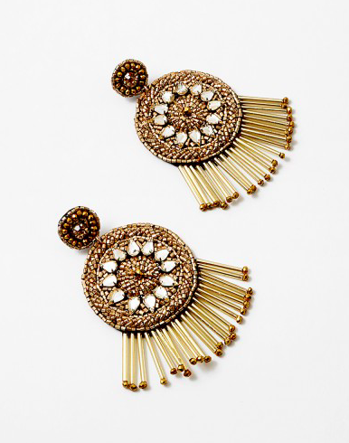 Gold Double Fringe Crystal Earring