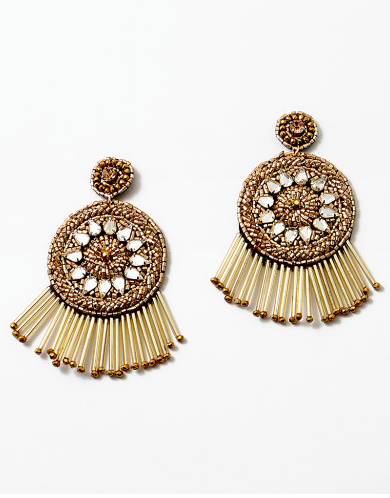 Gold Double Round Drop Fringe Seed Bead Crystal Statement Earring