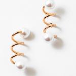 Geometric Floating Pearl Hoop Earrings