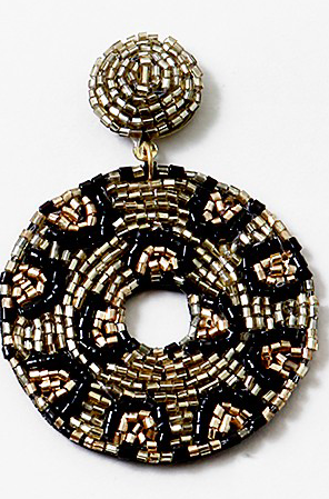 Round Animal Beaded Drop Earring