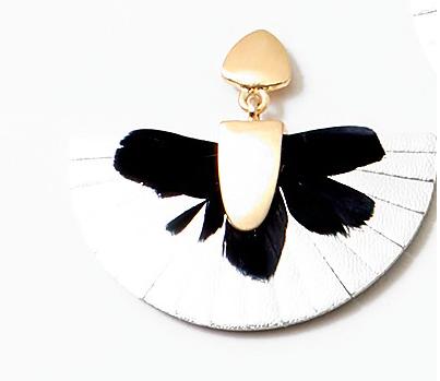 Metallic Leather Fringe  Hand Painted Fan Earrings