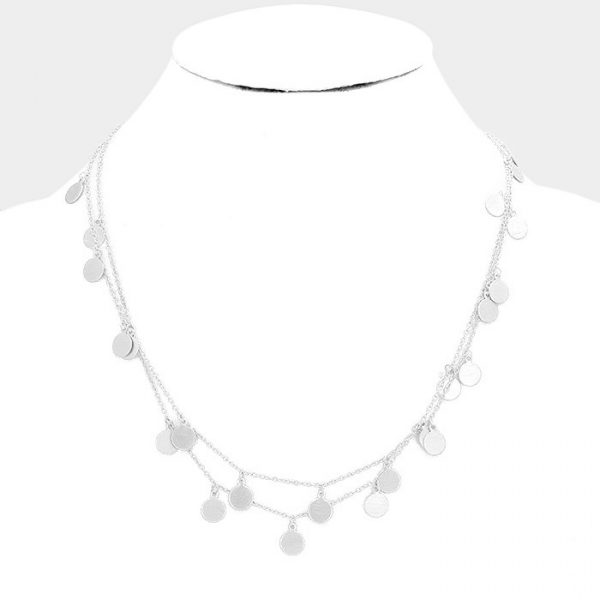 Silver Metal Disc Long Necklace