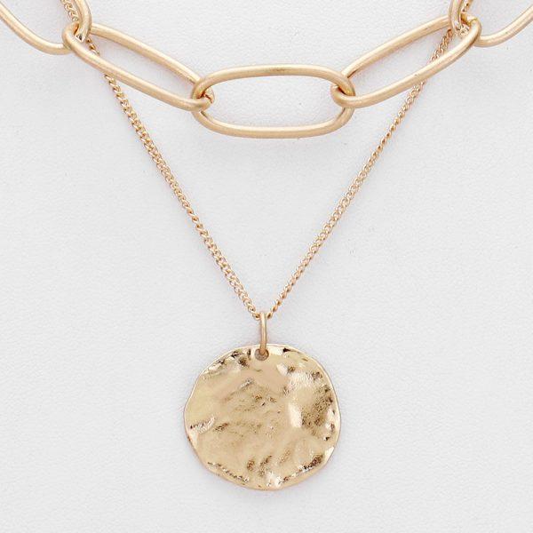 Double Layer Disc Pendant Gold Necklace