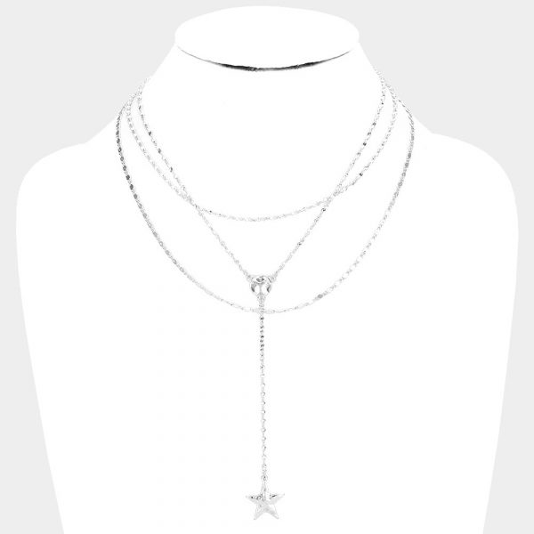 Layered Silver Star Pendant Necklace