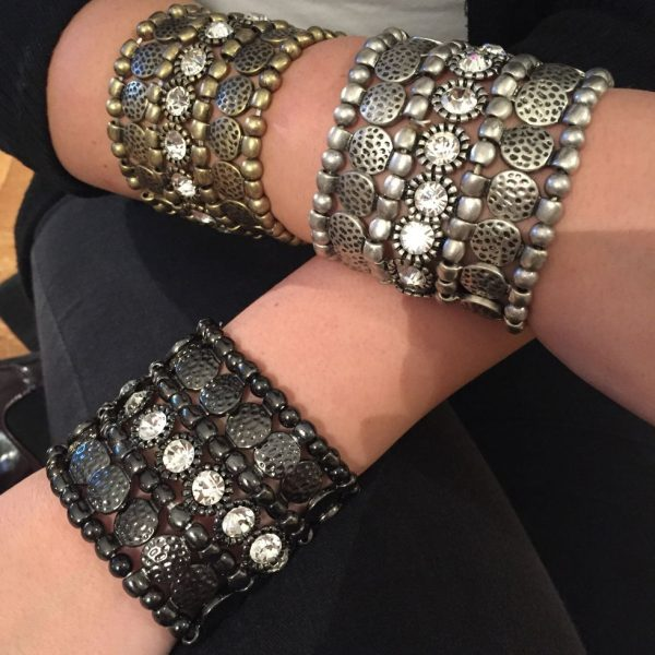 Metal Stretch Crystal Cuff Bracelet - Monique Leshman New York - Jewelery Accessories Apparel Fashion Designer Stylist