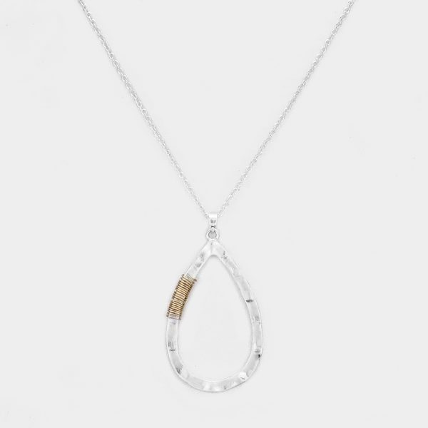 Hammered Silver Tear Drop Wired Pendant Necklace