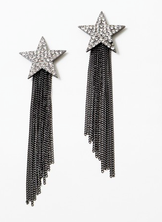 Gun Metal Star Fringe Earrings