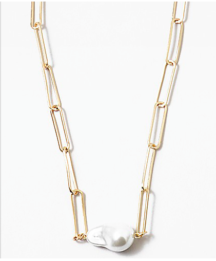Pearl Drop Link Chain Necklace