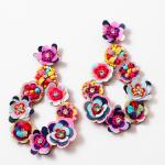 Multi Rainbow Multi Color Flower Drop Earring