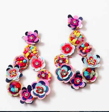 Multi Color Rainbow Hand Beaded Flower Chandelier Earrings