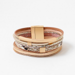 Snake Gold Geometric Leather Cuff