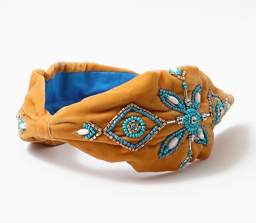 Southwest Tan Turquoise Hand Embroidered Statement Headband