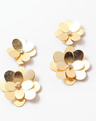 Double Flower Gold Statement Drop Earrings