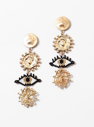 Evil Eye Coin Black Drop Gold Earring