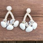 Triple Shell Handmade Seed Bead Chandelier Earring
