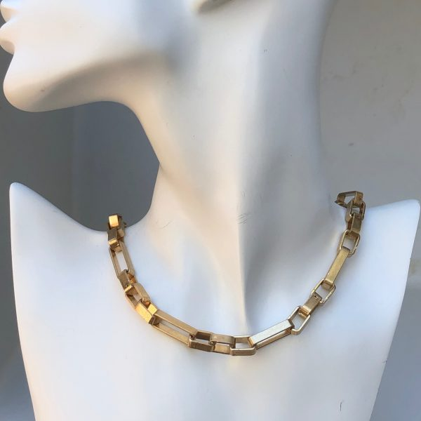 Gold Tubular Rectangle Metal Link Necklace